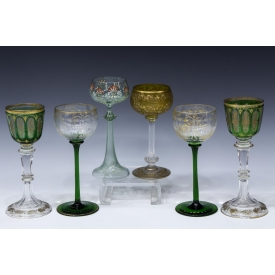 (6) BOHEMIAN CUT TO CLEAR GILT STEMWARE GROUP