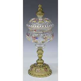MOSER STYLE ENAMELED GLASS COVERED POKAL