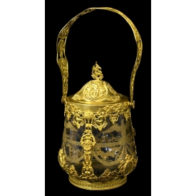 FRENCH EMPIRE STYLE GILT METAL ENGRAVED ICE BUCKET