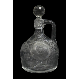HEAVY CUT GLASS THISTLE PATTERN HANDLED DECANTER