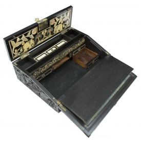 ANTIQUE ANGLO INDIAN CARVED EBONY LAP DESK, 19THC.