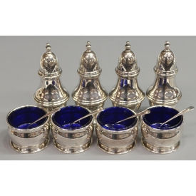 STERLING SILVER PEPPERS & COBALT LINED OPEN SALTS