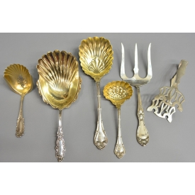 (6) STERLING SILVER SERVICE LADLE, SPOONS, FORK