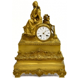 FRENCH DORE BRONZE & GILT METAL FIGURAL CLOCK