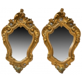 (2) ITALIAN LOUIS XV STYLE ROCAILLE WALL MIRRORS
