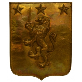 BRASS COAT OF ARMS SHIELD, RAMPANT LION