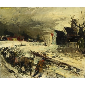 PAINTING, THE SNOW STORM, OLIVIER FOSS 1920-2002