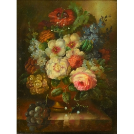 19TH C. PAINTING, FLORAL STILL LIFE, J. CONSTANT