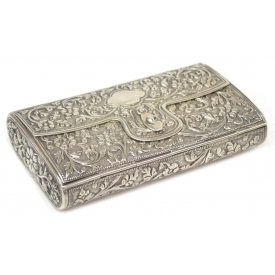 INDIA FLOWERING VINE REPOUSSE SILVER CARRYING CASE