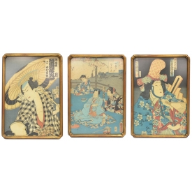 (3) ANTIQUE JAPANESE WOODBLOCK PRINTS