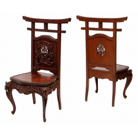 (PAIR) CHINESE CARVED & PIERCED SIDE CHAIRS
