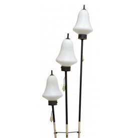 MID-CENTURY STEEL FLOOR LAMP WITH GLASS GLOBES