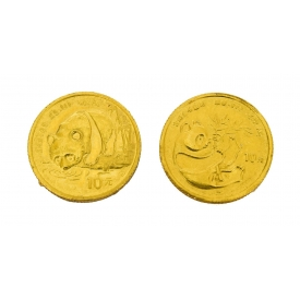 (2) CHINESE GOLD PANDA COINS, 1/10 OUNCE GOLD