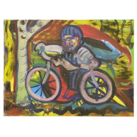 TRUMAN MARQUEZ (B.1962) FIGURE & BICYCLE PAINTING