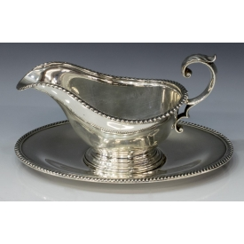 (2PC) GORHAM GADROONED SAUCE BOAT & UNDERPLATE