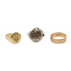 (3) ANTIQUE ESTATE GOLD RING GROUPING