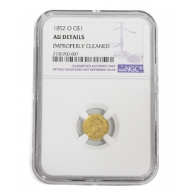 US 1852 O LIBERTY HEAD ONE DOLLAR GOLD COIN NGC AU
